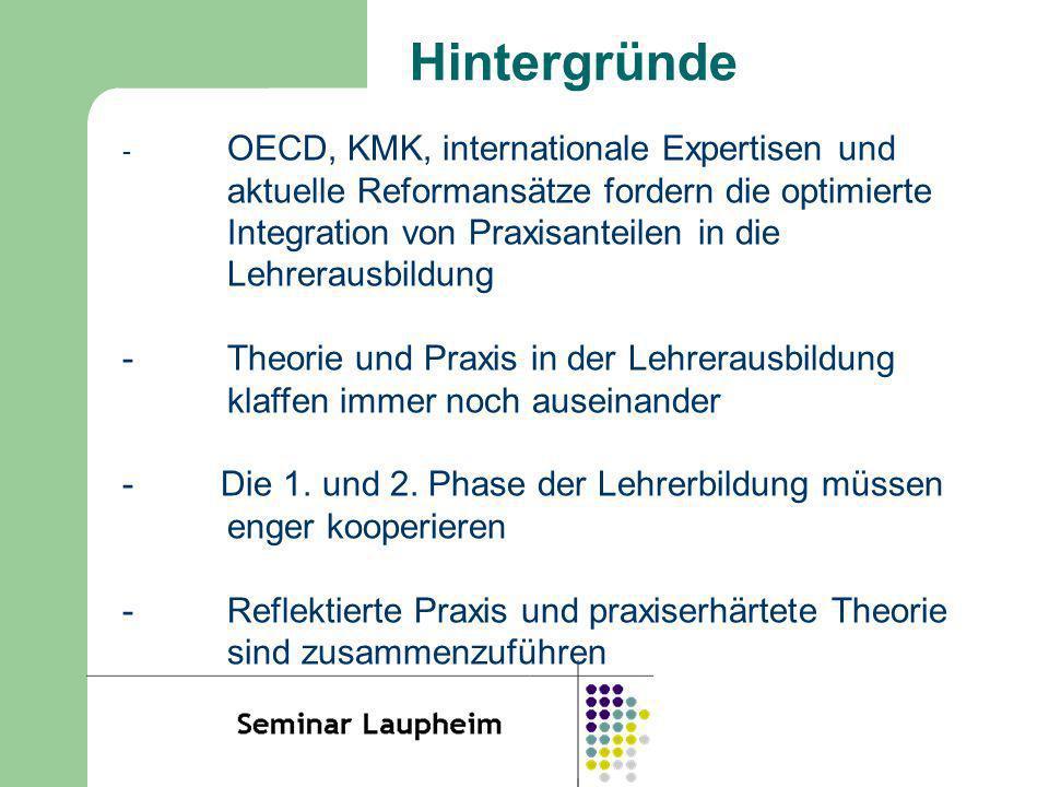 Hintergründe - OECD, KMK, internationale Expertisen und aktuelle Reformansätze fordern die optimierte Integration von Praxisanteilen in die Lehrerausb