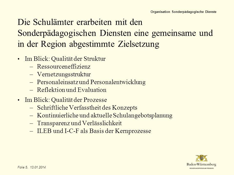 Folie 6, 13.01.2014 Organisation Sonderpädagogische Dienste Sonderpädagogische Dienste arbeiten subsidiär im System und am Einzelfall.