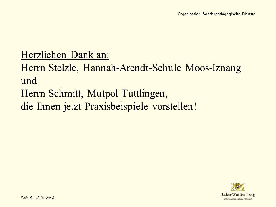 Folie 8, 13.01.2014 Organisation Sonderpädagogische Dienste Herzlichen Dank an: Herrn Stelzle, Hannah-Arendt-Schule Moos-Iznang und Herrn Schmitt, Mut