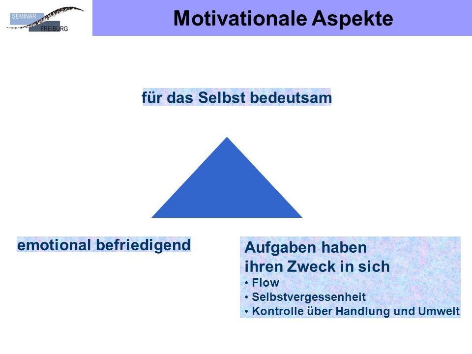 Motivationale Aspekte für das Selbst bedeutsam emotional befriedigend Aufgaben haben ihren Zweck in sich Flow Selbstvergessenheit Kontrolle über Handlung und Umwelt