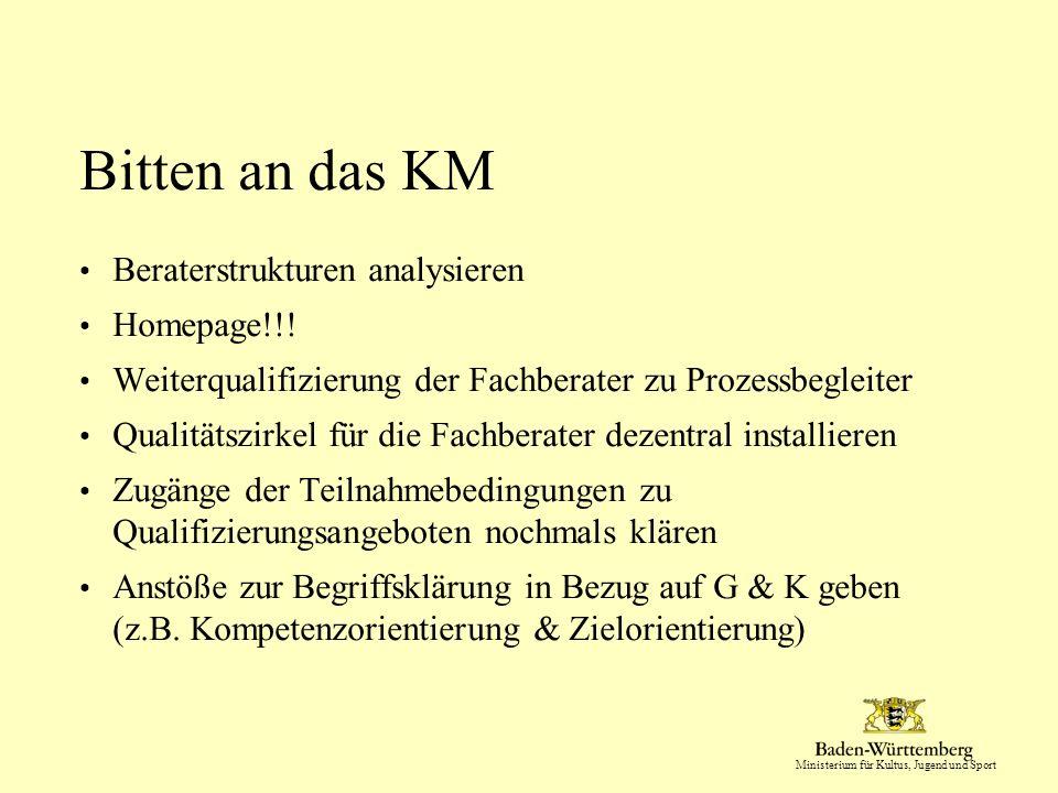 Ministerium für Kultus, Jugend und Sport Bitten an das KM Beraterstrukturen analysieren Homepage!!.