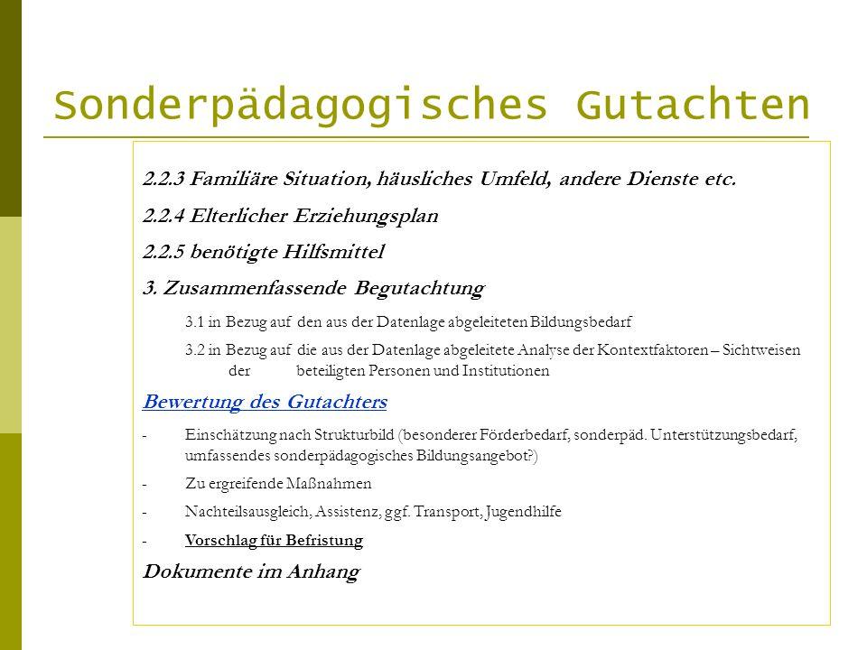 Sonderpädagogisches Gutachten 2.2.3 Familiäre Situation, häusliches Umfeld, andere Dienste etc. 2.2.4 Elterlicher Erziehungsplan 2.2.5 benötigte Hilfs