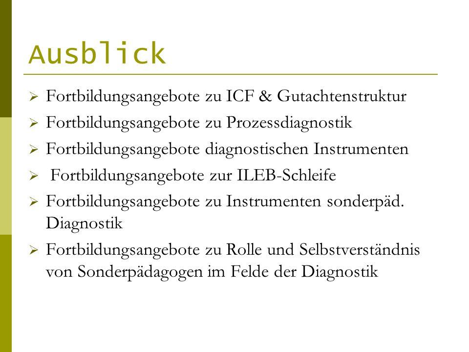 Ausblick Fortbildungsangebote zu ICF & Gutachtenstruktur Fortbildungsangebote zu Prozessdiagnostik Fortbildungsangebote diagnostischen Instrumenten Fo