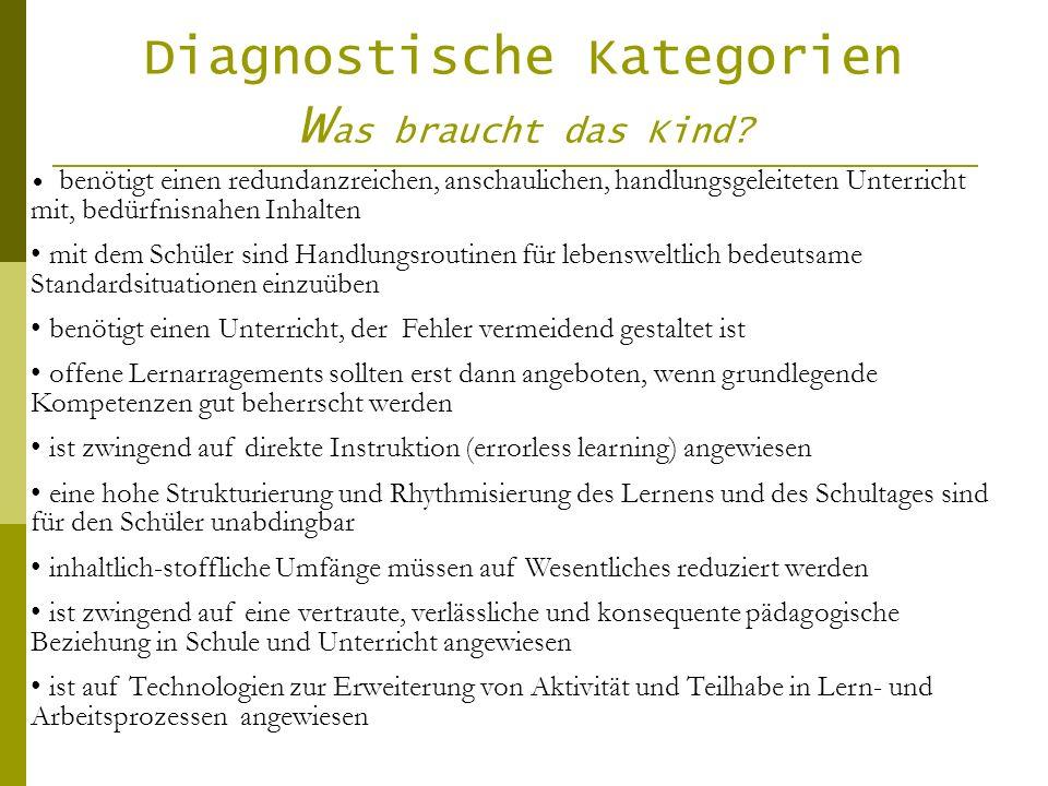 Diagnostische Kategorien W as braucht das Kind? benötigt einen redundanzreichen, anschaulichen, handlungsgeleiteten Unterricht mit, bedürfnisnahen Inh