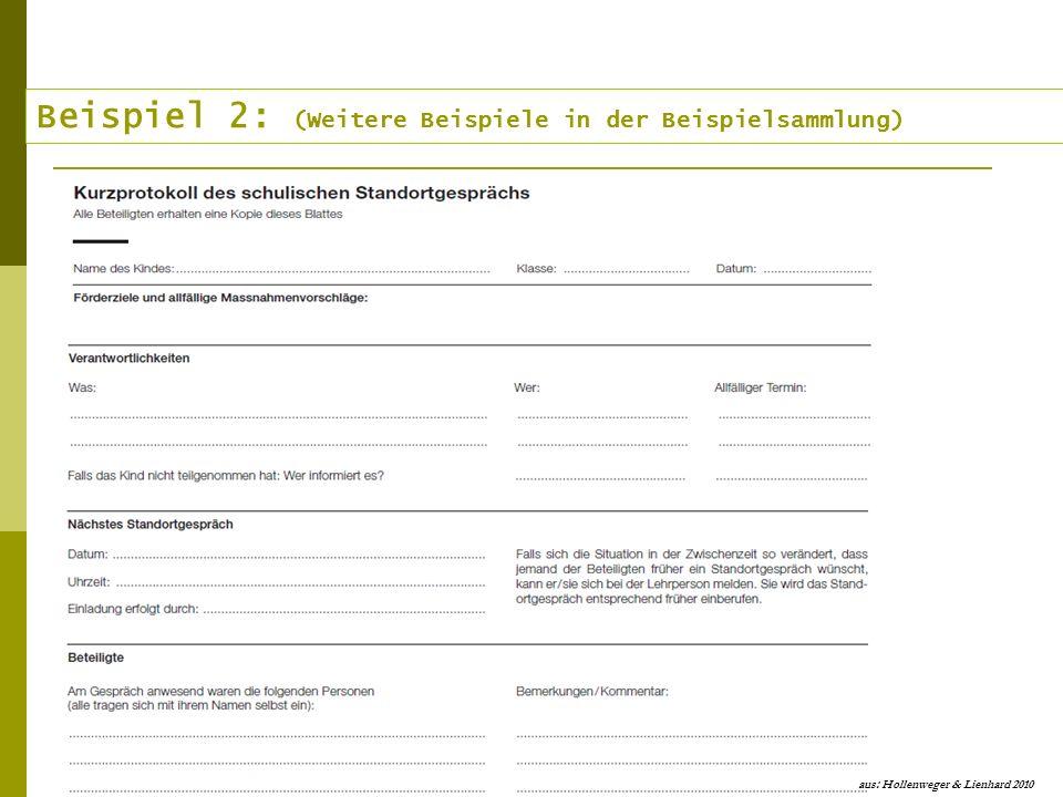 Beispiel 2: (Weitere Beispiele in der Beispielsammlung) aus: Hollenweger & Lienhard 2010