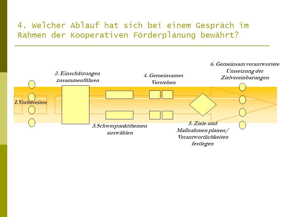 1.Vorbereiten 2. Einschätzungen zusammenführen 3.Schwerpunktthemen auswählen 4. Gemeinsames Verstehen 5. Ziele und Maßnahmen planen/ Verantwortlichkei