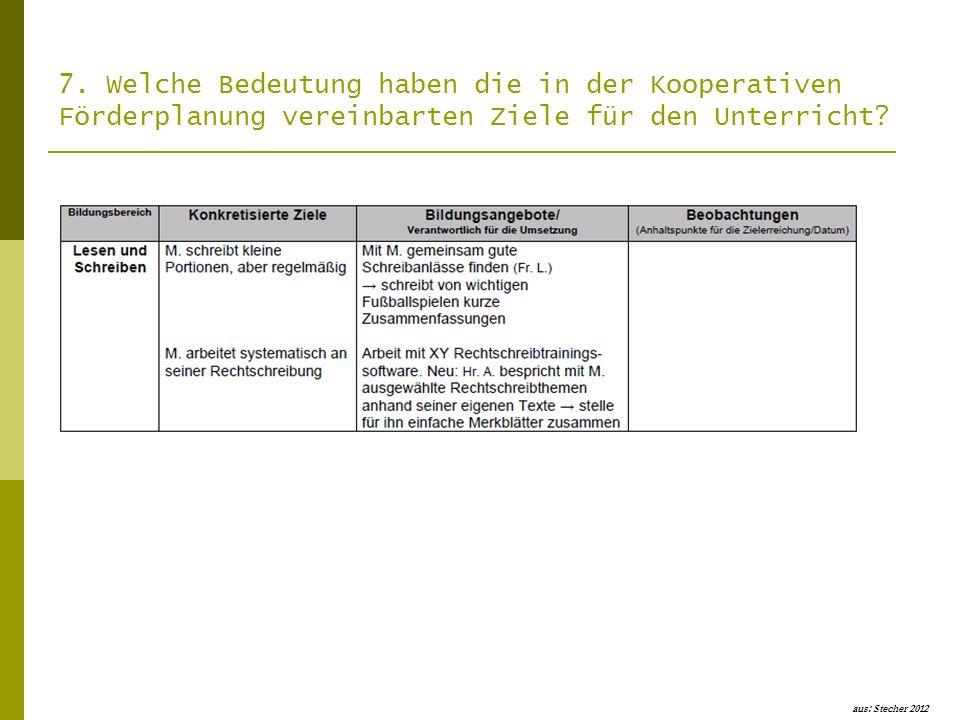 7. Welche Bedeutung haben die in der Kooperativen Förderplanung vereinbarten Ziele für den Unterricht? aus: Stecher 2012