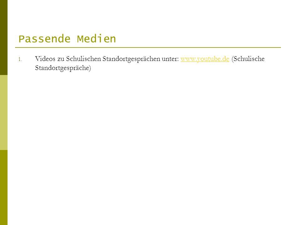 Passende Medien 1. Videos zu Schulischen Standortgesprächen unter: www.youtube.de (Schulische Standortgespräche)www.youtube.de