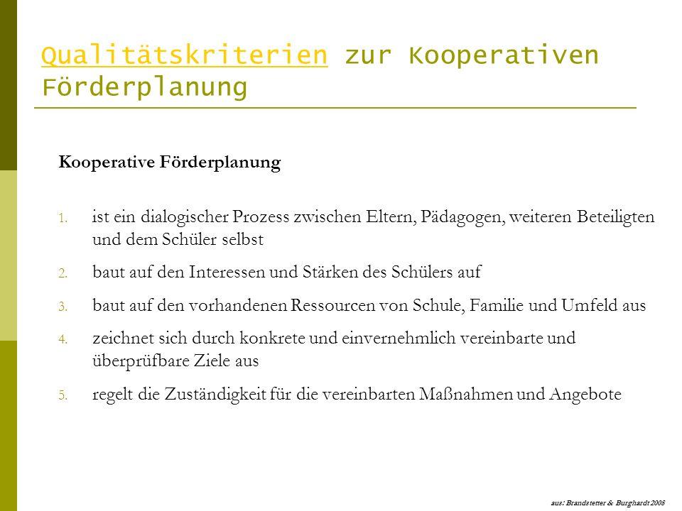 QualitätskriterienQualitätskriterien zur Kooperativen Förderplanung Kooperative Förderplanung 1. ist ein dialogischer Prozess zwischen Eltern, Pädagog