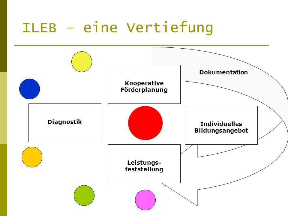 Diagnostik K Individuelles Bildungsangebot Kooperative Förderplanung Leistungs- feststellung Dokumentation ILEB – eine Vertiefung