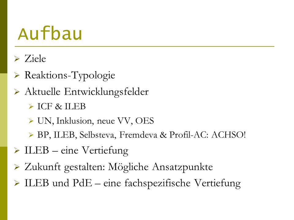 Aufbau Ziele Reaktions-Typologie Aktuelle Entwicklungsfelder ICF & ILEB UN, Inklusion, neue VV, OES BP, ILEB, Selbsteva, Fremdeva & Profil-AC: ACHSO.