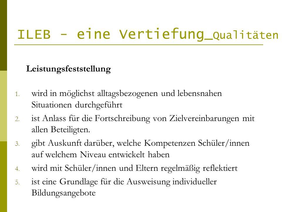 ILEB - eine Vertiefung_ Qualitäten 1. wird in möglichst alltagsbezogenen und lebensnahen Situationen durchgeführt 2. ist Anlass für die Fortschreibung