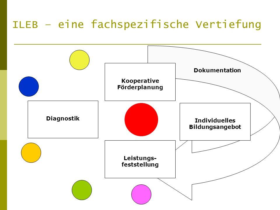Diagnostik K Individuelles Bildungsangebot Kooperative Förderplanung Leistungs- feststellung Dokumentation ILEB – eine fachspezifische Vertiefung