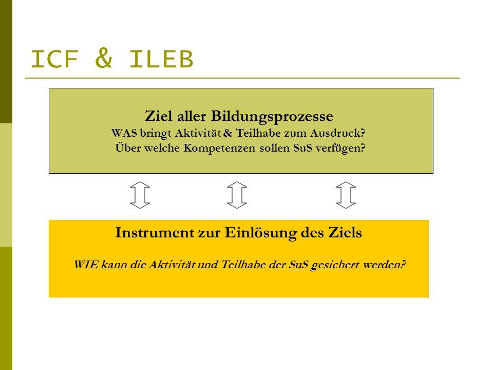 ICF & ILEB Ziel aller Bildungsprozesse WAS bringt Aktivität & Teilhabe zum Ausdruck? Über welche Kompetenzen sollen SuS verfügen? Instrument zur Einlö