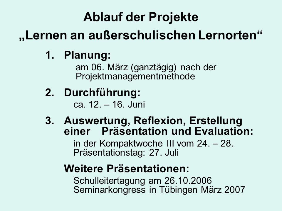 Ablauf der Projekte Lernen an außerschulischen Lernorten 1.Planung: am 06. März (ganztägig) nach der Projektmanagementmethode 2.Durchführung: ca. 12.