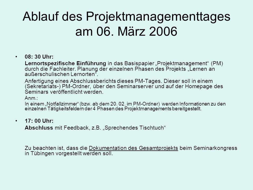 Ablauf des Projektmanagementtages am 06. März 2006 08: 30 Uhr: Lernortspezifische Einführung in das Basispapier Projektmanagement (PM) durch die Fachl