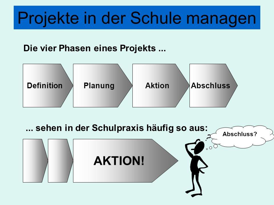Projekte in der Schule managen DefinitionPlanungAktionAbschluss Die vier Phasen eines Projekts...... sehen in der Schulpraxis häufig so aus: AKTION! A