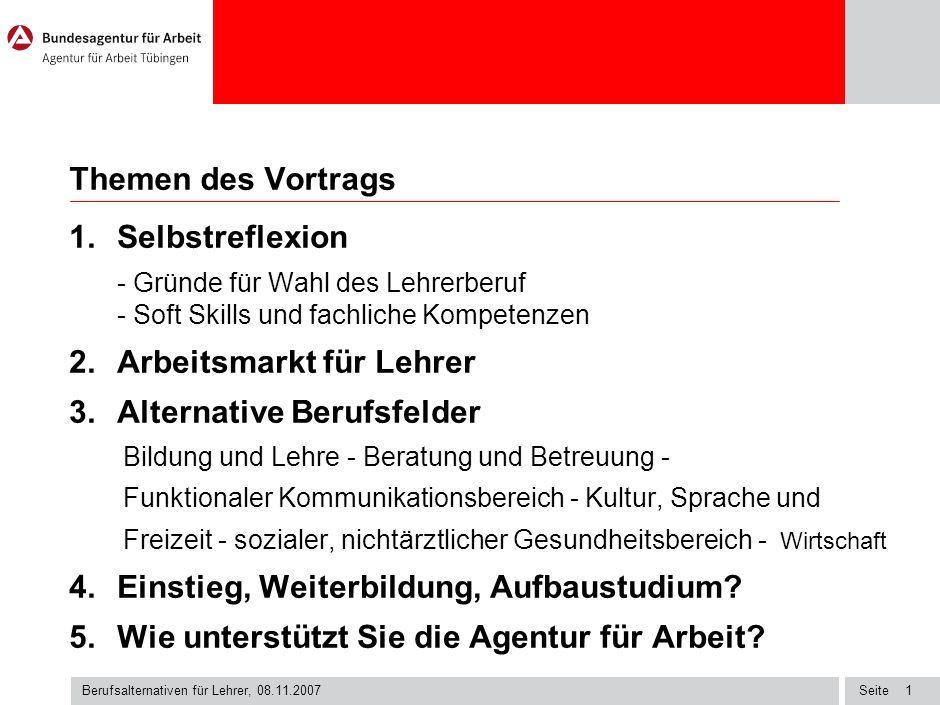 Seite Berufsalternativen für Lehrer, 08.11.2007 1 Themen des Vortrags I.
