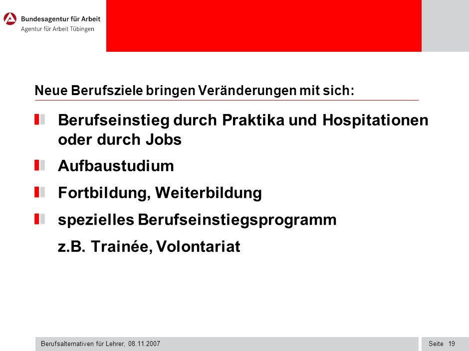 Seite Berufsalternativen für Lehrer, 08.11.2007 18 Berufsfeld: Wirtschaft Personalreferent/in Personalentwickler/in Internationaler Handel/ Business S
