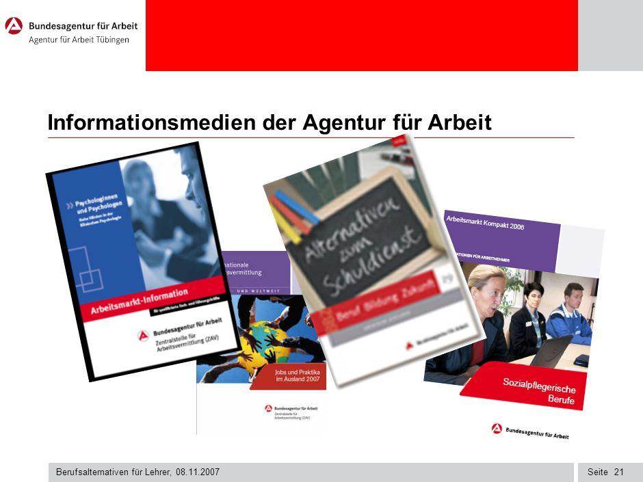 Seite Berufsalternativen für Lehrer, 08.11.2007 20 Aufbaustudiengänge einige Beispiele an PHs - Bildungsmanagement - Kulturmanagement - Medien- und Bi