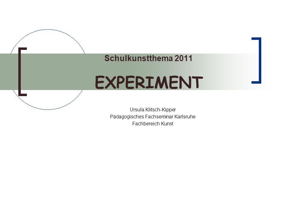 Schulkunstthema 2011 EXPERIMENT Ursula Klitsch-Kipper Pädagogisches Fachseminar Karlsruhe Fachbereich Kunst