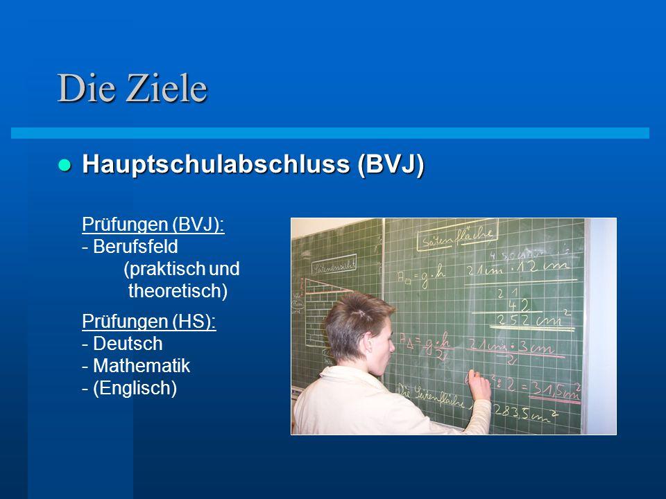 Die Ziele Hauptschulabschluss (BVJ) Hauptschulabschluss (BVJ) Prüfungen (BVJ): - Berufsfeld (praktisch und theoretisch) Prüfungen (HS): - Deutsch - Ma