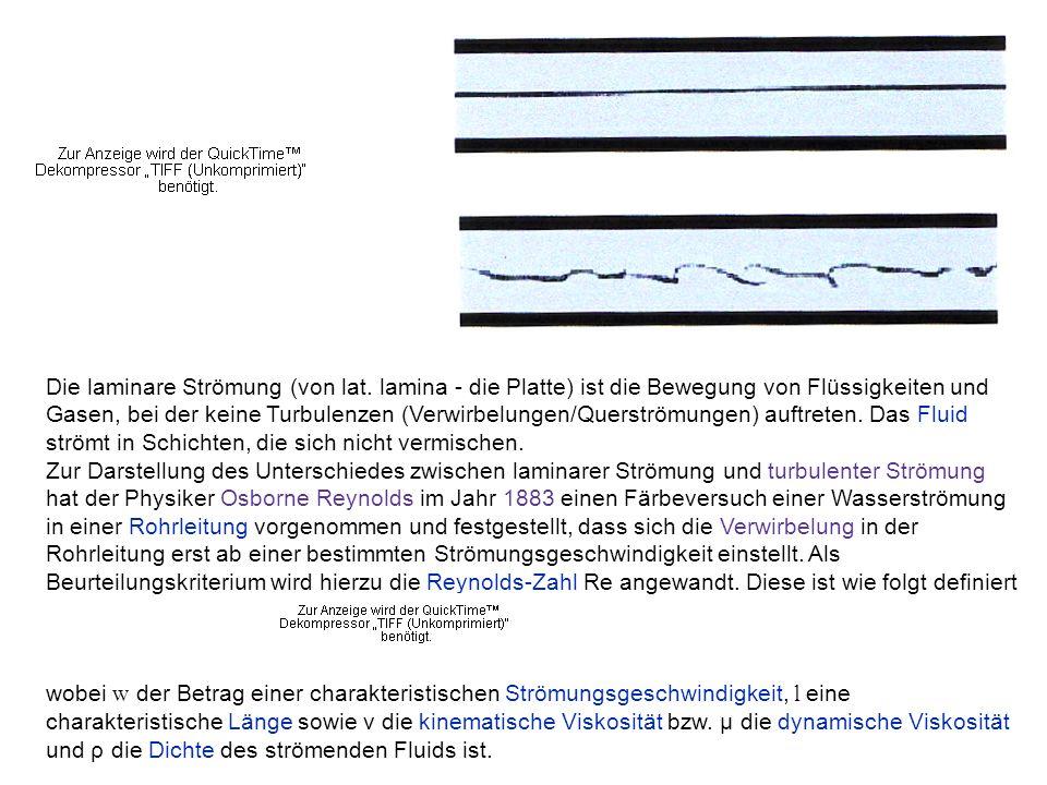 Die laminare Strömung (von lat. lamina - die Platte) ist die Bewegung von Flüssigkeiten und Gasen, bei der keine Turbulenzen (Verwirbelungen/Querström