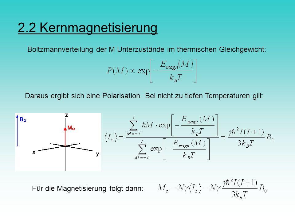 2.2 Kernmagnetisierung Boltzmannverteilung der M Unterzustände im thermischen Gleichgewicht: Daraus ergibt sich eine Polarisation. Bei nicht zu tiefen