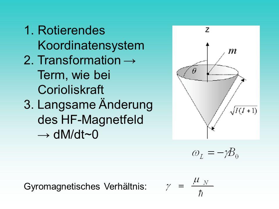 1. Rotierendes Koordinatensystem 2. Transformation Term, wie bei Corioliskraft 3. Langsame Änderung des HF-Magnetfeld dM/dt~0 Gyromagnetisches Verhält