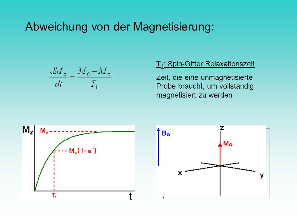 Abweichung von der Magnetisierung: T 1 : Spin-Gitter Relaxationszeit Zeit, die eine unmagnetisierte Probe braucht, um vollständig magnetisiert zu werd
