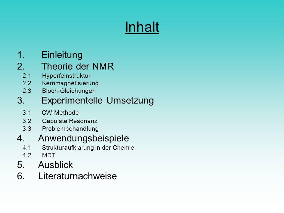 Inhalt 1. Einleitung 2. Theorie der NMR 2.1 Hyperfeinstruktur 2.2 Kernmagnetisierung 2.3 Bloch-Gleichungen 3. Experimentelle Umsetzung 3.1 CW-Methode