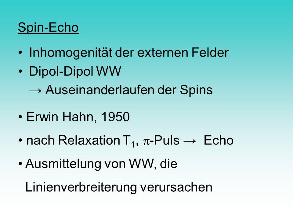 Spin-Echo Inhomogenität der externen Felder Dipol-Dipol WW Auseinanderlaufen der Spins Erwin Hahn, 1950 nach Relaxation T 1, -Puls Echo Ausmittelung v