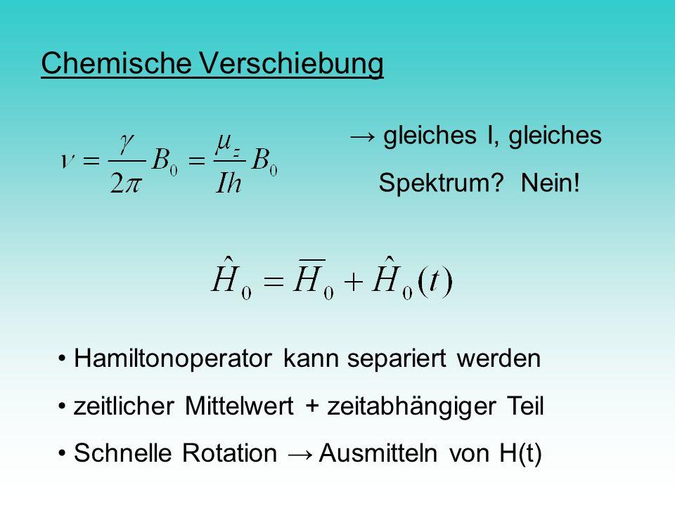 Chemische Verschiebung gleiches I, gleiches Spektrum? Nein! Hamiltonoperator kann separiert werden zeitlicher Mittelwert + zeitabhängiger Teil Schnell