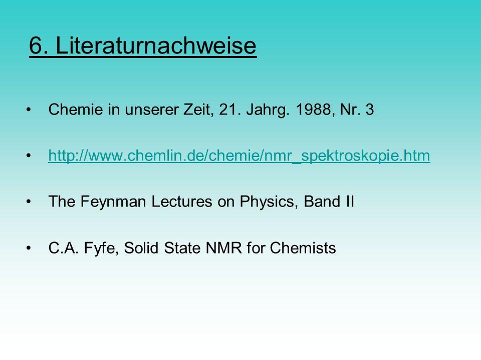 6. Literaturnachweise Chemie in unserer Zeit, 21. Jahrg. 1988, Nr. 3 http://www.chemlin.de/chemie/nmr_spektroskopie.htm The Feynman Lectures on Physic