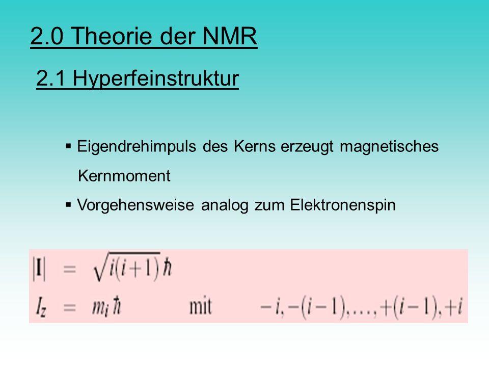 2.1 Hyperfeinstruktur Eigendrehimpuls des Kerns erzeugt magnetisches Kernmoment Vorgehensweise analog zum Elektronenspin 2.0 Theorie der NMR