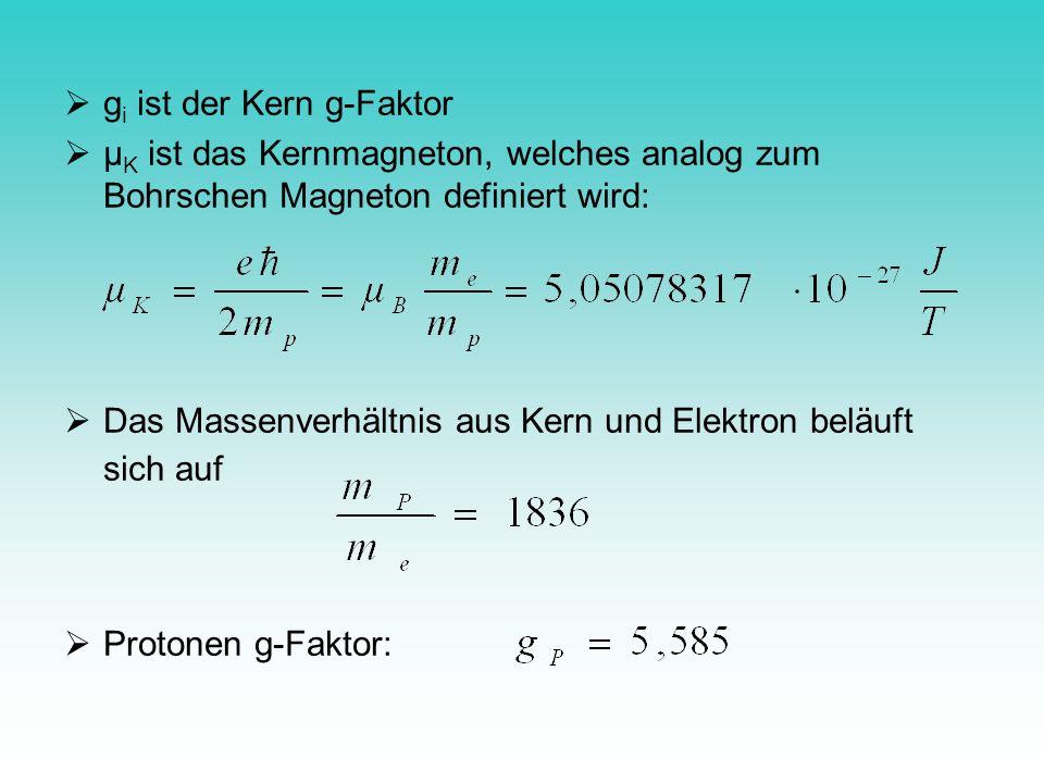 g i ist der Kern g-Faktor µ K ist das Kernmagneton, welches analog zum Bohrschen Magneton definiert wird: Das Massenverhältnis aus Kern und Elektron b