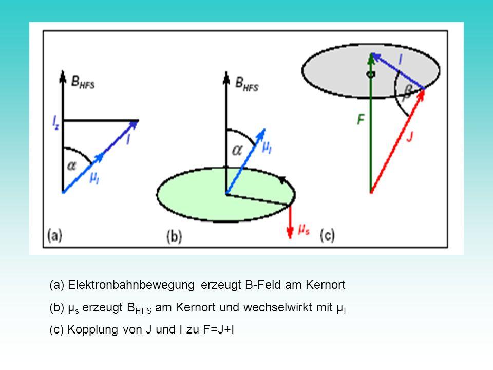 (a) Elektronbahnbewegung erzeugt B-Feld am Kernort (b) µ s erzeugt B HFS am Kernort und wechselwirkt mit µ I (c) Kopplung von J und I zu F=J+I