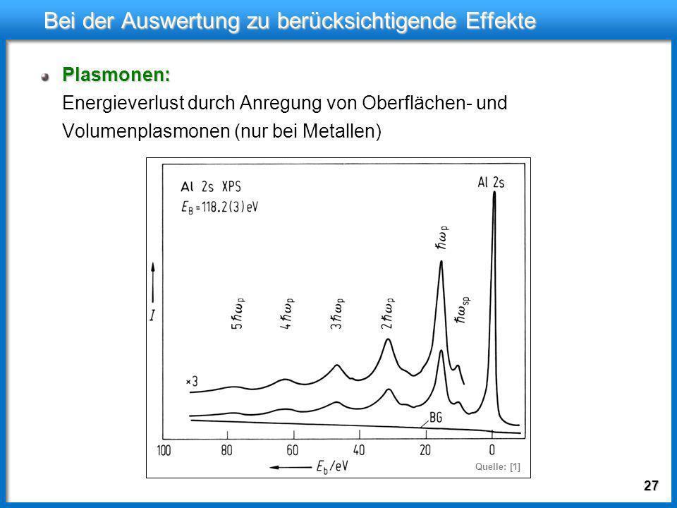 26 Bei der Auswertung zu berücksichtigende Effekte Chemische Verschiebung: Chemische Verschiebung: Energieniveaus der Rumpfzustände sind von Elektrone
