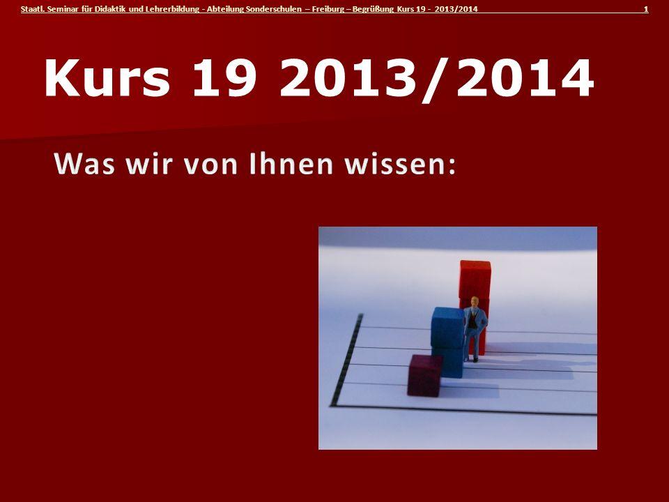Staatl. Seminar für Didaktik und Lehrerbildung - Abteilung Sonderschulen – Freiburg – Begrüßung Kurs 19 - 2013/2014 1 Kurs 19 2013/2014