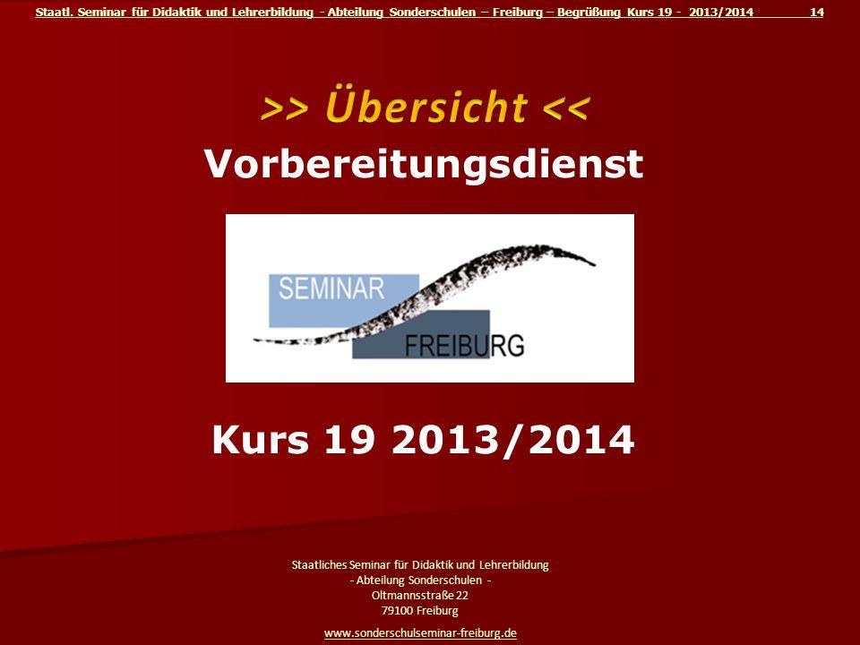 Staatl. Seminar für Didaktik und Lehrerbildung - Abteilung Sonderschulen – Freiburg – Begrüßung Kurs 19 - 2013/2014 14 Staatliches Seminar für Didakti