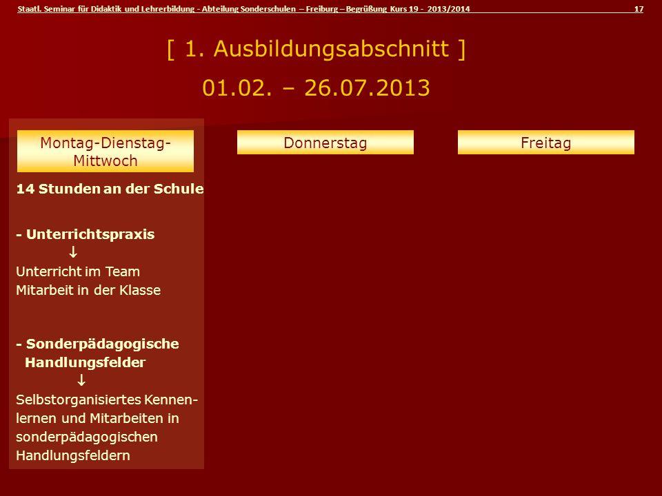 Staatl. Seminar für Didaktik und Lehrerbildung - Abteilung Sonderschulen – Freiburg – Begrüßung Kurs 19 - 2013/2014 17 14 Stunden an der Schule - Unte