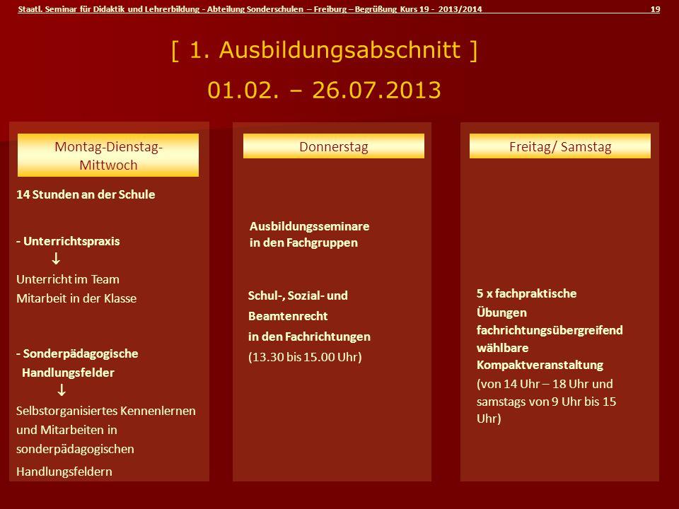Staatl. Seminar für Didaktik und Lehrerbildung - Abteilung Sonderschulen – Freiburg – Begrüßung Kurs 19 - 2013/2014 19 Schul-, Sozial- und Beamtenrech