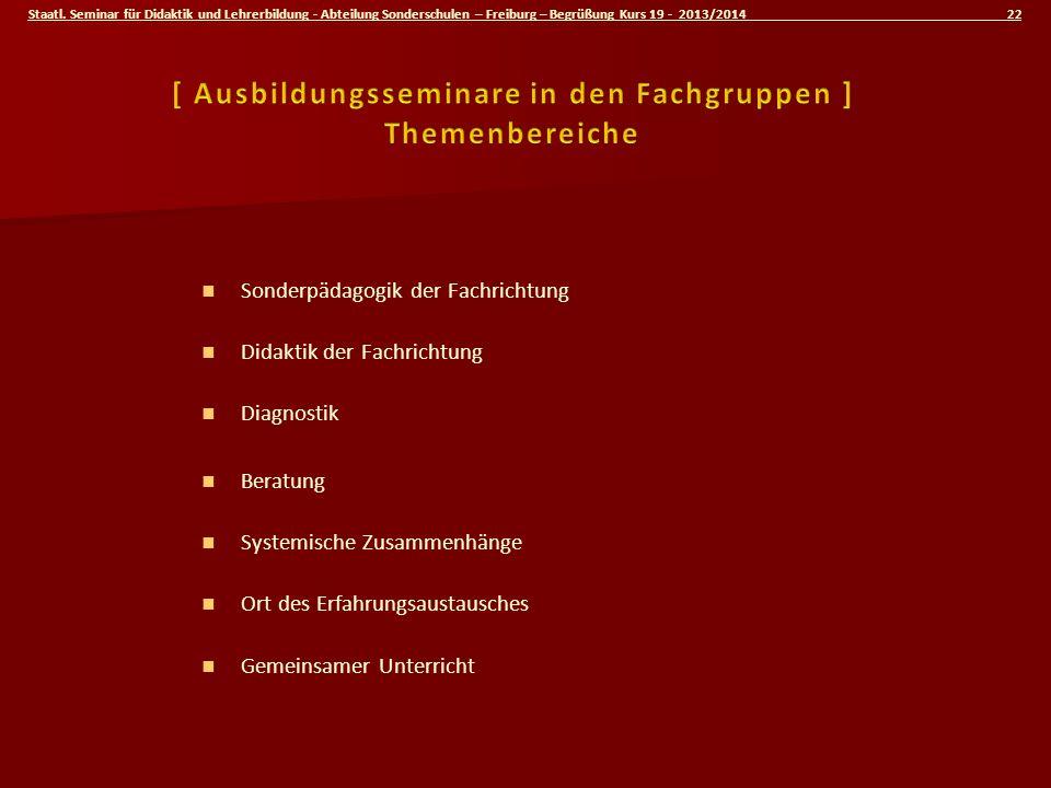 Staatl. Seminar für Didaktik und Lehrerbildung - Abteilung Sonderschulen – Freiburg – Begrüßung Kurs 19 - 2013/2014 22 Sonderpädagogik der Fachrichtun