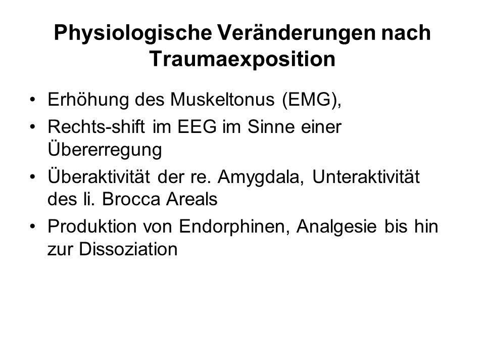Physiologische Veränderungen nach Traumaexposition Erhöhung des Muskeltonus (EMG), Rechts-shift im EEG im Sinne einer Übererregung Überaktivität der r