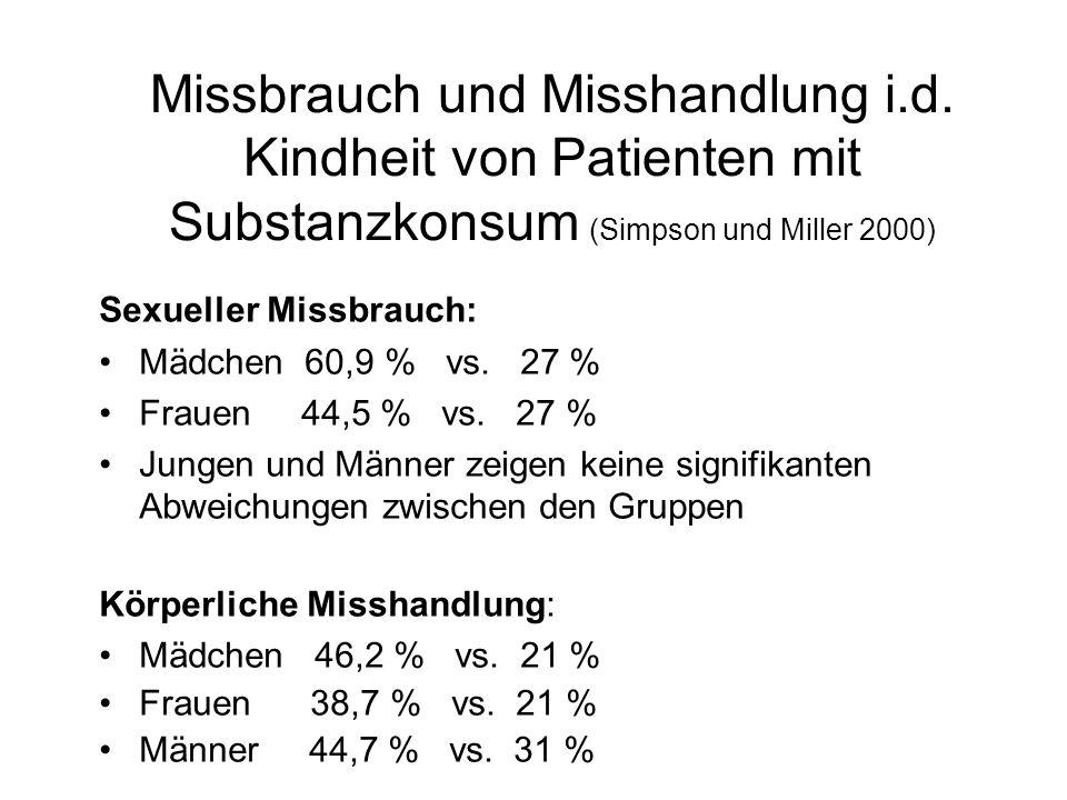 Missbrauch und Misshandlung i.d. Kindheit von Patienten mit Substanzkonsum (Simpson und Miller 2000) Sexueller Missbrauch: Mädchen 60,9 % vs. 27 % Fra