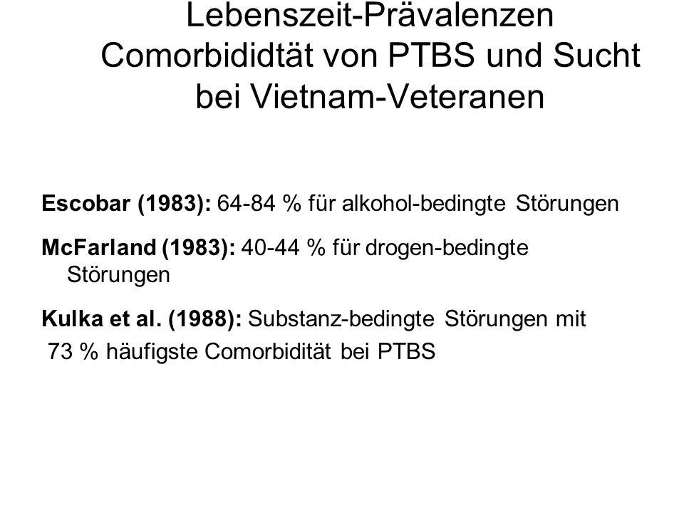Lebenszeit-Prävalenzen Comorbididtät von PTBS und Sucht bei Vietnam-Veteranen Escobar (1983): 64-84 % für alkohol-bedingte Störungen McFarland (1983):