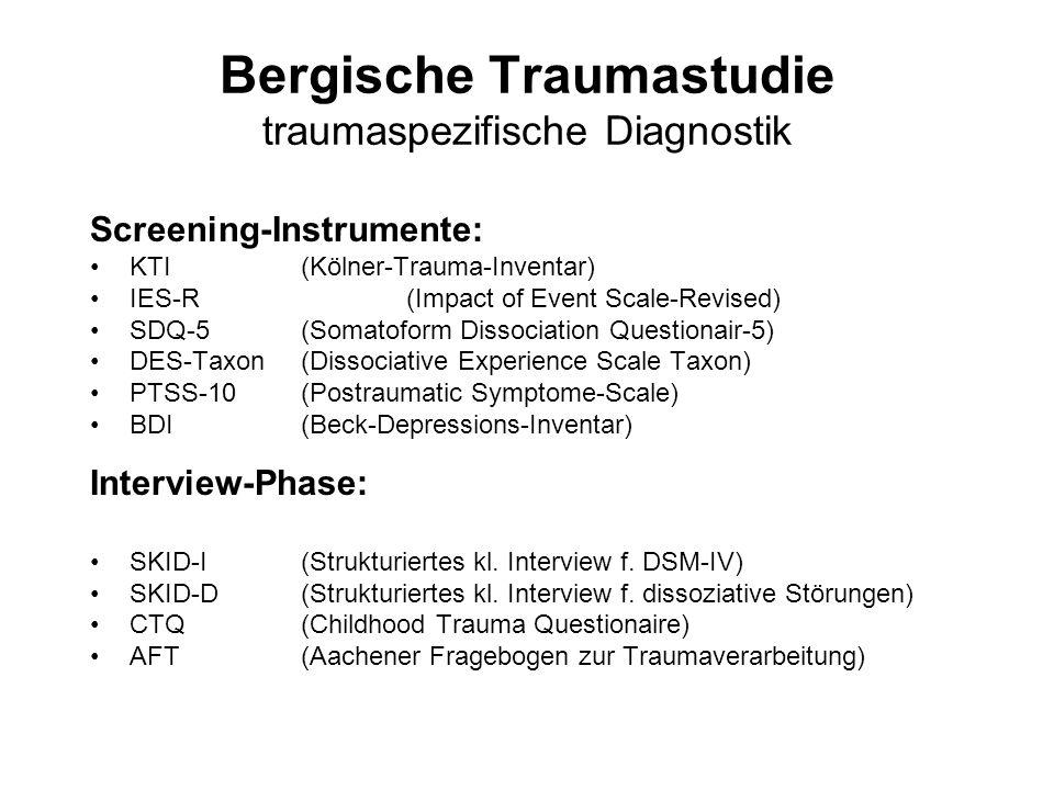 Bergische Traumastudie traumaspezifische Diagnostik Screening-Instrumente: KTI(Kölner-Trauma-Inventar) IES-R(Impact of Event Scale-Revised) SDQ-5(Soma
