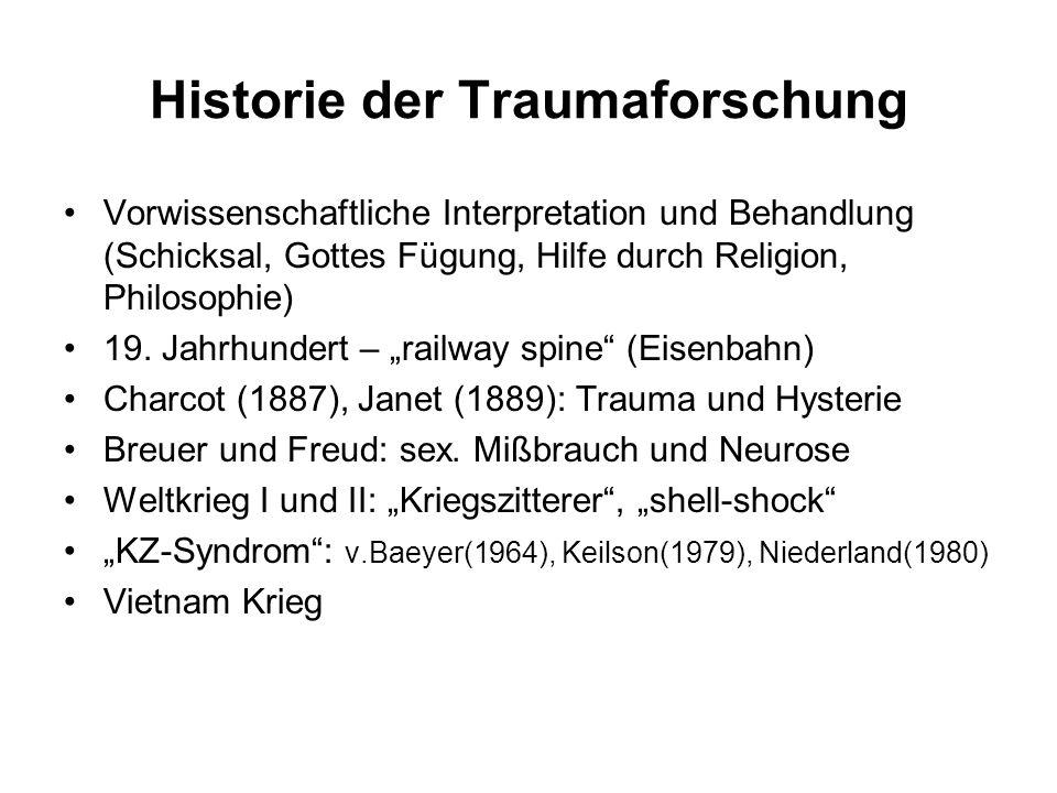 Historie der Traumaforschung Vorwissenschaftliche Interpretation und Behandlung (Schicksal, Gottes Fügung, Hilfe durch Religion, Philosophie) 19. Jahr