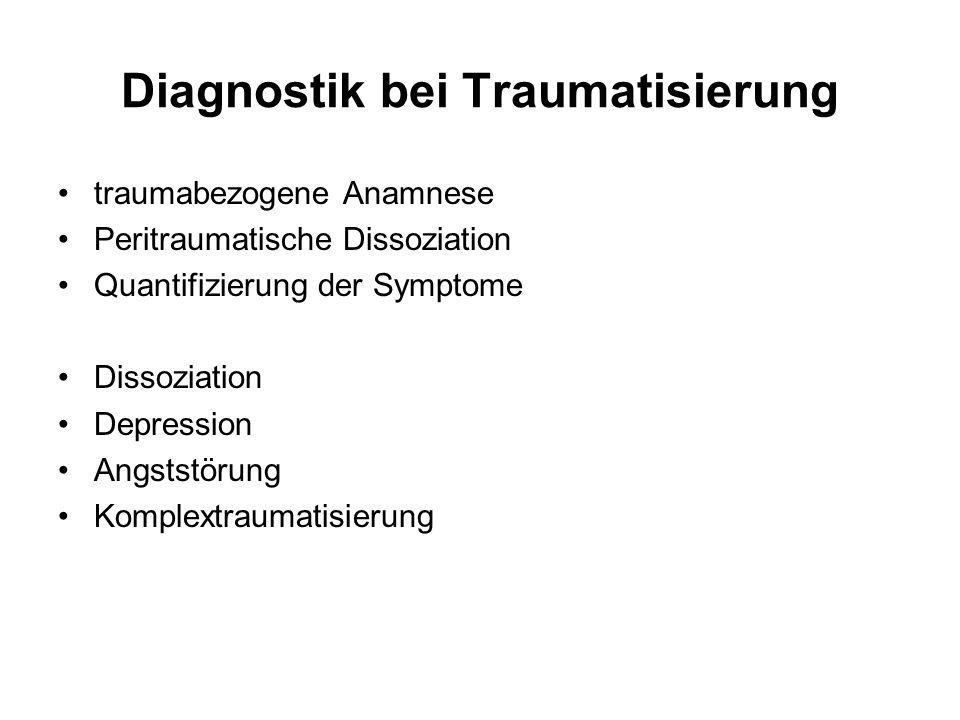 Diagnostik bei Traumatisierung traumabezogene Anamnese Peritraumatische Dissoziation Quantifizierung der Symptome Dissoziation Depression Angststörung