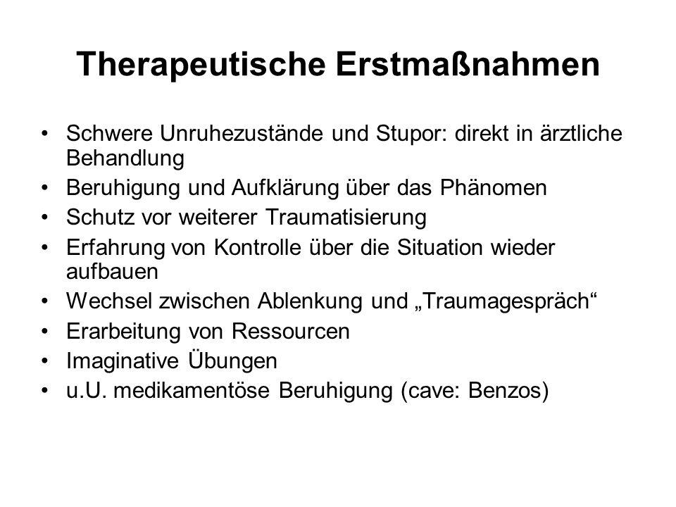 Therapeutische Erstmaßnahmen Schwere Unruhezustände und Stupor: direkt in ärztliche Behandlung Beruhigung und Aufklärung über das Phänomen Schutz vor